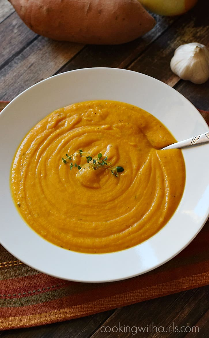 Creamy, Roasted Sweet Potato Soup will make you forget just how cold it is outside this winter   cookingwithcurls.com