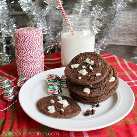 Dark Chocolate Peppermint Bark Cookies