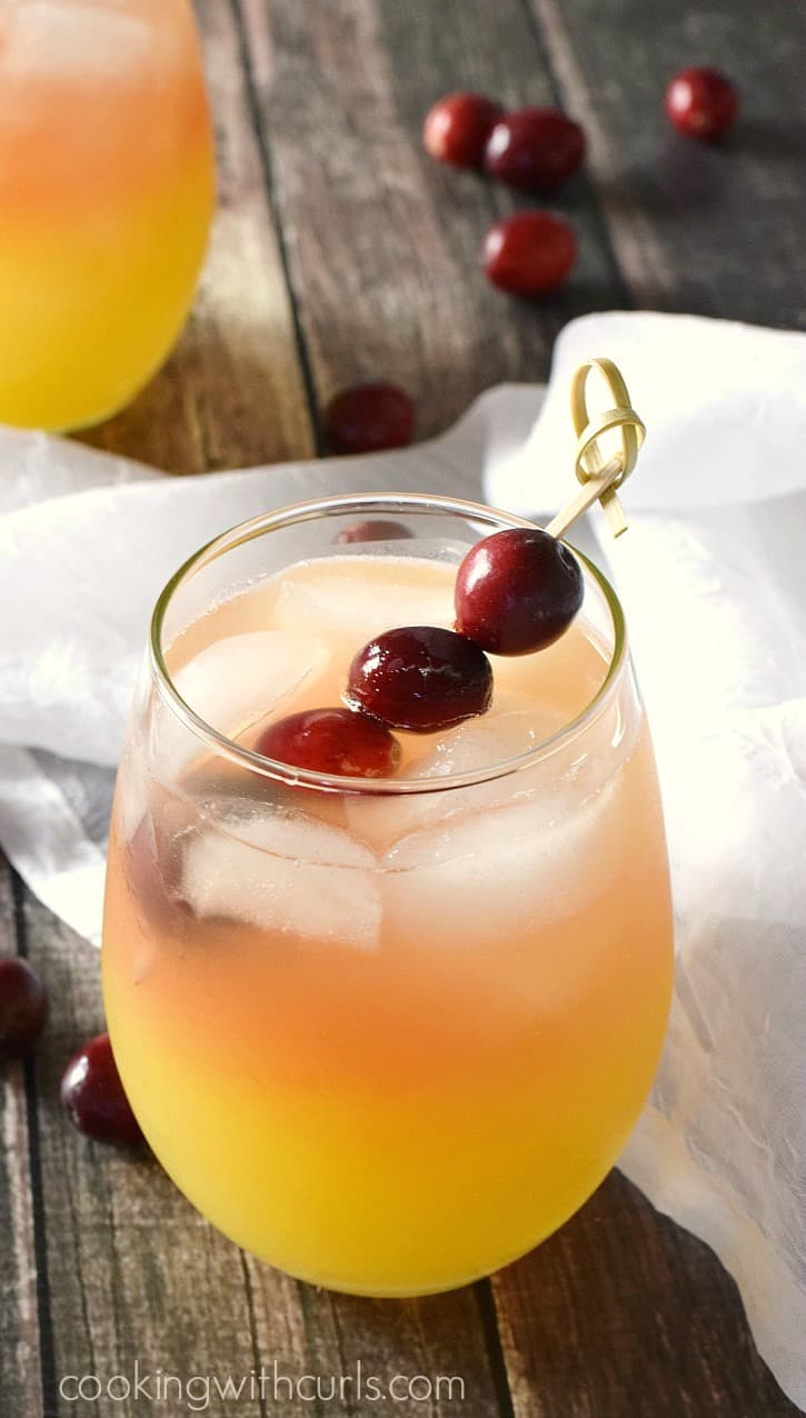 Holiday Relaxer Cocktail in a small, clear glass garnished with cranberries on a bamboo stick sitting on sheet white fabric