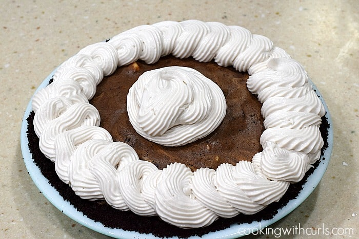 Mocha Almond Fudge Truffle Pie topping cookingwithcurls.com