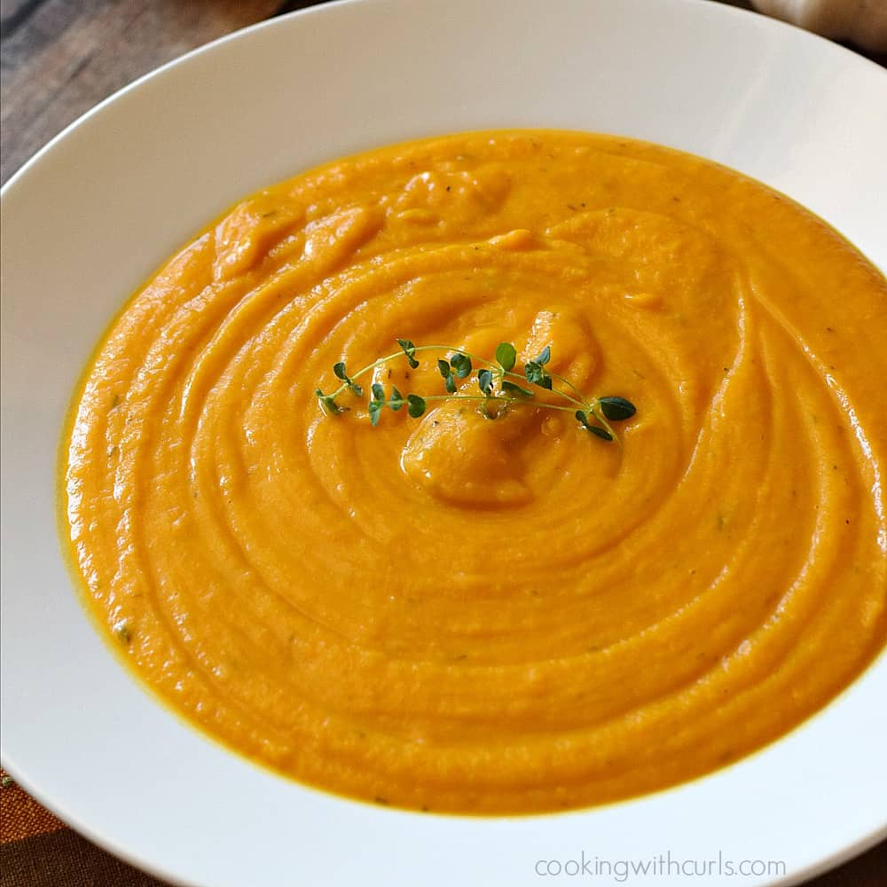 Roasted Sweet Potato Soup cookingwithcurls.com #vegan