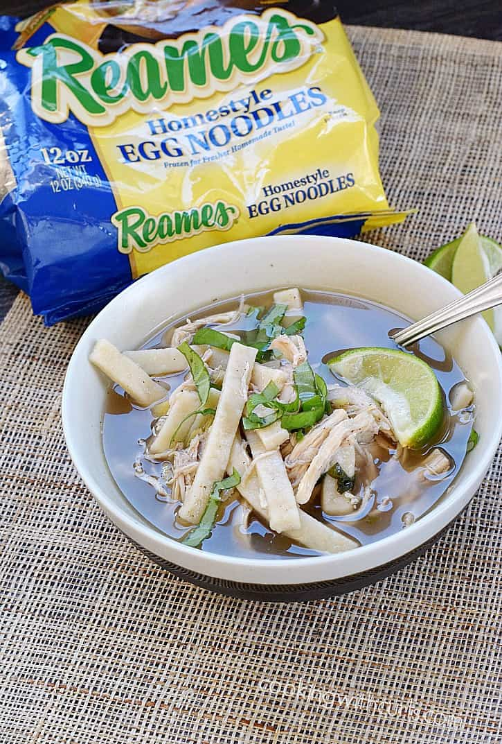 Chinese Chicken Noodle Soup with Reames Homestyle Egg Noodles, shredded chicken, ginger, lime, and lots of Chinese seasonings | cookingwithcurls.com