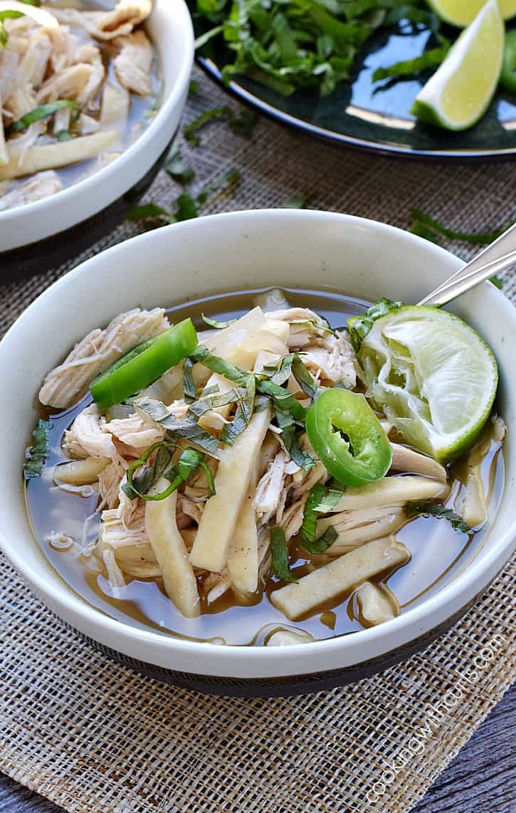 Homestyle egg noodles, Chinese Five Spice, jalapeno, and ginger make this Chinese Chicken Noodle Soup the perfect way to warm up on a cold day | cookingwithcurls.com