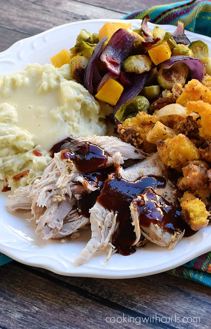 Southwest Roasted Turkey topped with Cherry Chipotle Barbecue Sauce | cookingwithcurls.com