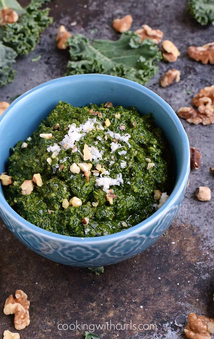 Kale Pesto with toasted walnuts and balsamic vinegar cookingwithcurls.com
