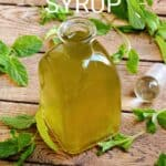 Peppermint syrup in a square glass bottle surrounded by fresh mint leaves with a title graphic across the top.