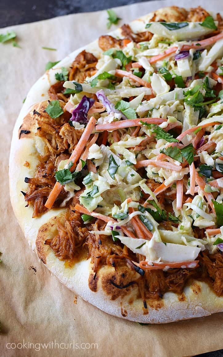 Barbecue Chicken Pizza topped with creamy Apple Coleslaw | cookingwithcurls.com