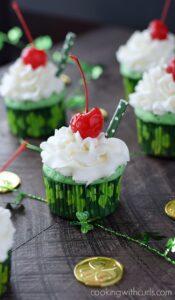 Boozy Shamrock Shake Cupcakes