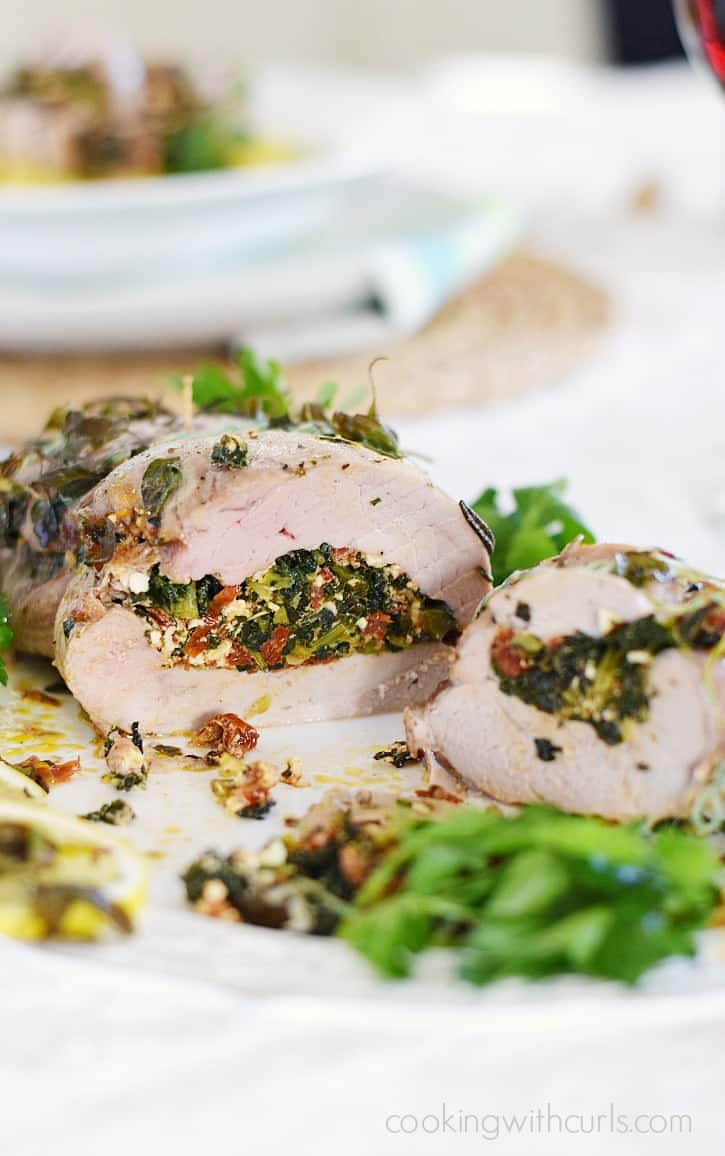 Tuscan Stuffed Pork Loin - stuffed with kale, sun-dried tomatoes, garlic and feta cheese and roasted to perfection cookingwithcurls.com #ad #EntertainandPair