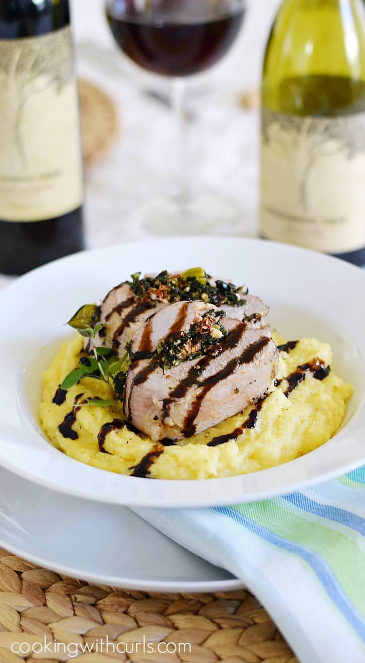 Tuscan Stuffed Pork Loin on Creamy Parmesan Polenta COPYRIGHT © 2017 COOKING WITH CURLS #EntertainandPair #ad