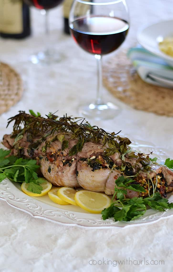 Mag 4 21+ Tuscan Stuffed Pork Loin roasted with fresh herbs and served on a bed of creamy polenta | cookingwithcurls.com #EntertainandPair #ad