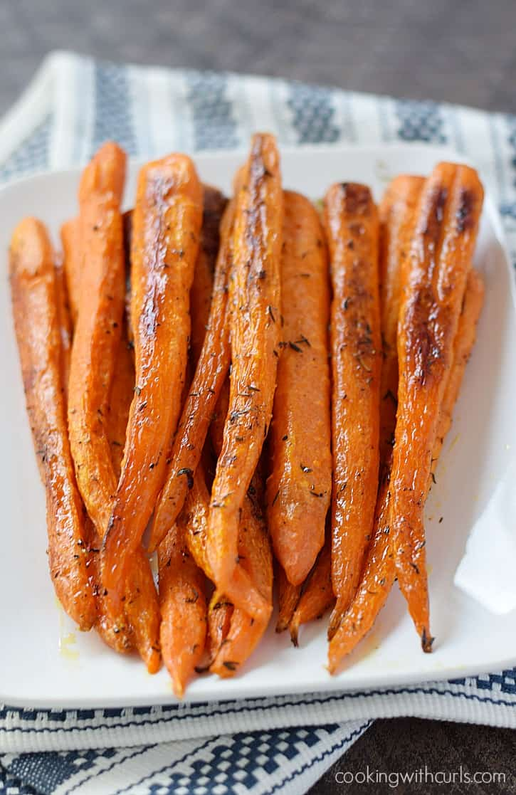 Simple Roasted Carrots are a delicious side side that could not be easier to make | cookingwithcurls.com