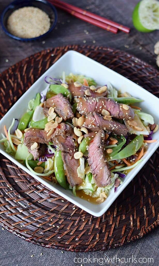 This Superfood Ginger Beef Bok Choy Salad is packed with nutrition and bursting with flavors from the Far East! cookingwithcurls.com
