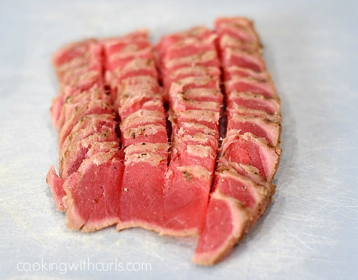 Ahi Tuna Stack cut cookingwithcurls.com