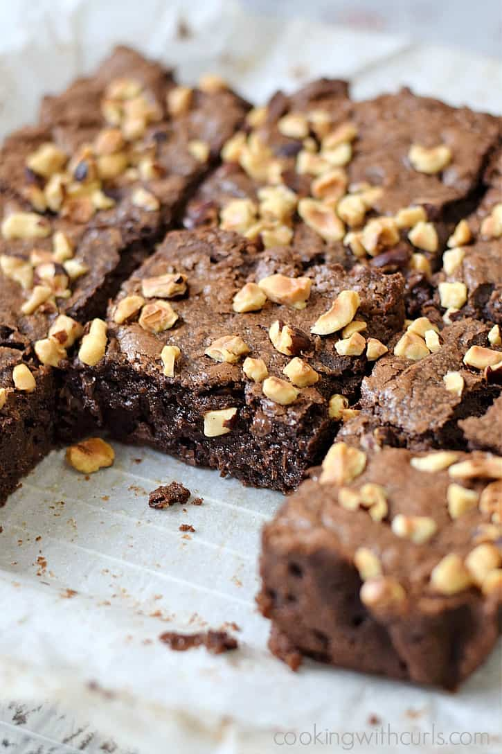 Fudgy Hazelnut Brownies make the perfect after school treat, or late night chocolate fix | cookingwithcurls.com