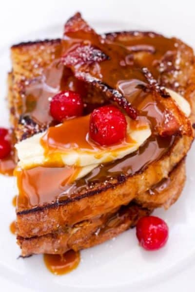 Homemade-Banana-Fosters-French-Toast-with-Blistered-Cherries-Bacon-25
