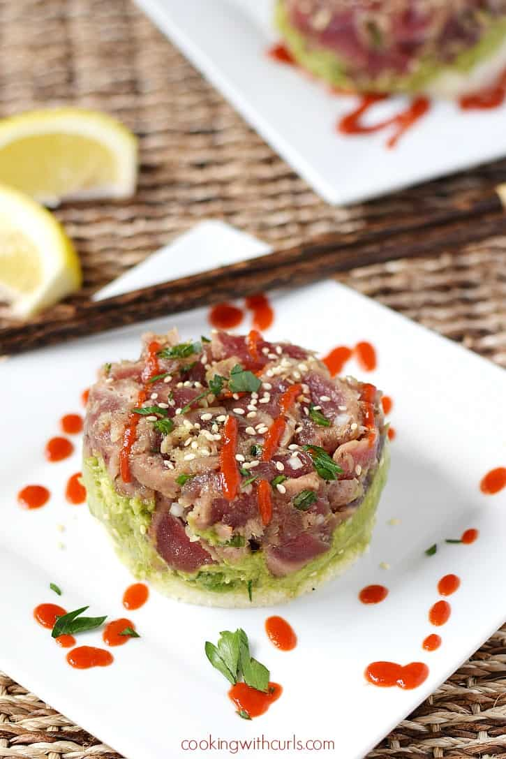 Relive your Hawaiian vacation at home with a Ahi Poke Stack. All of the traditional flavors are there and they are super simple to prepare | cookingwithcurls.com #BBSuperFresh #Seafoodies #ad #Paleo