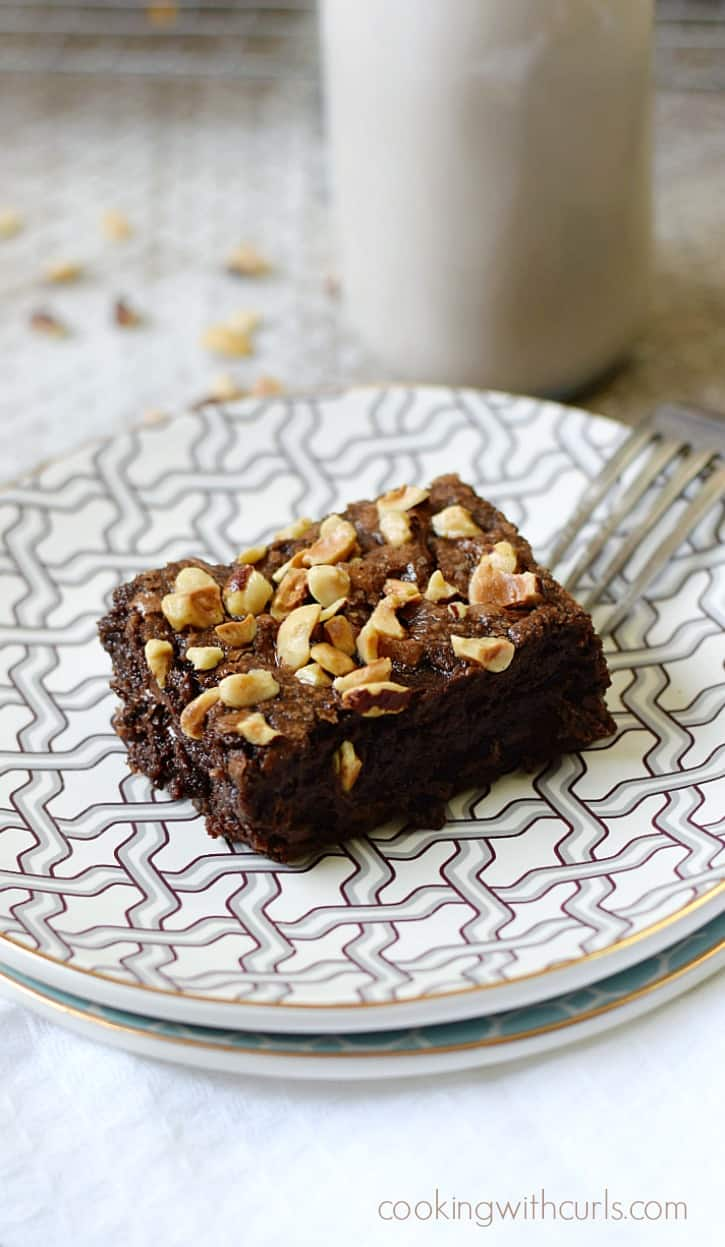 Rich and fudgy Hazelnut Brownies and a tall glass of milk | cookingwithcurls.com