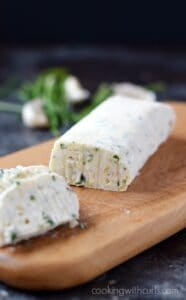 Roasted Garlic Goat Cheese and Chives Compound Butter