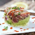 The traditional Ahi Poke has grown up and been transformed into a fun Ahi Tuna Stack for a delicious summer meal | cookingwithcurls.com