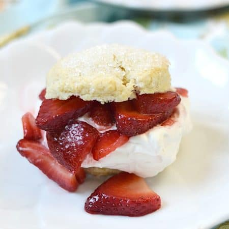 Celebrate summer with a Classic Strawberry Shortcake filled with sweetened whipped cream and juicy, fresh strawberries | cookingwithcurls.com