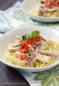 Chicken with Basil Cream on Angel Hair Pasta
