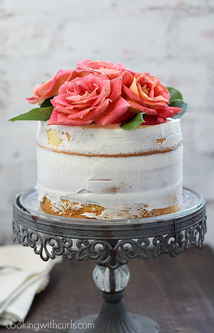 Naked 3-Layer Cake topped with roses | cookingwithcurls.com