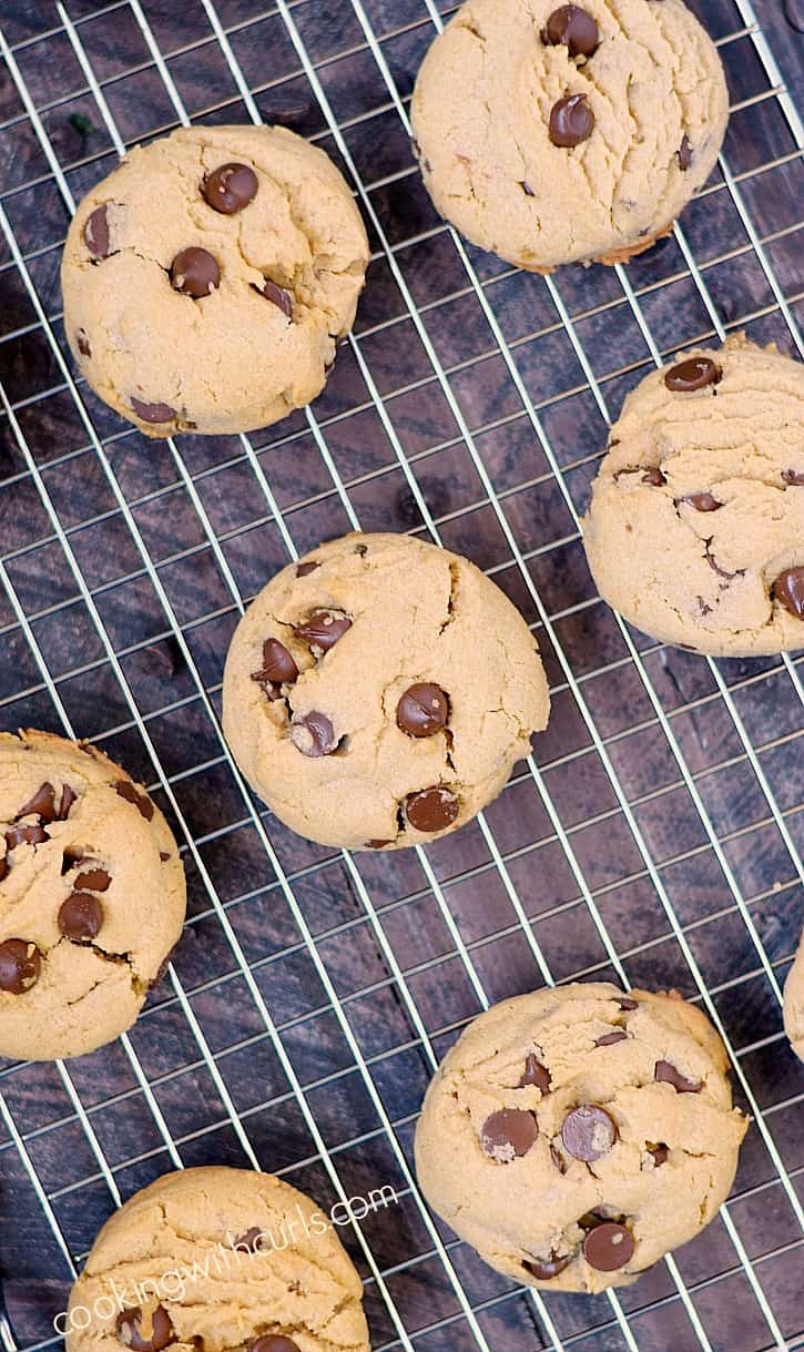 Peanut Butter Chocolate Chip Cookies fresh out of the oven, and straight into you belly!! cookingwithcurls.com