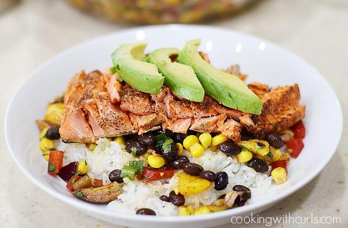 Southwest Salmon Bowl avocado cookingwithcurls.com