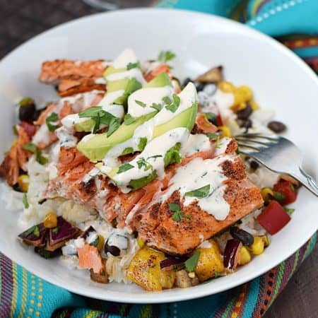 Southwest Salmon Bowl loaded with flavor and super simple to prepare | cookingwithcurls.com