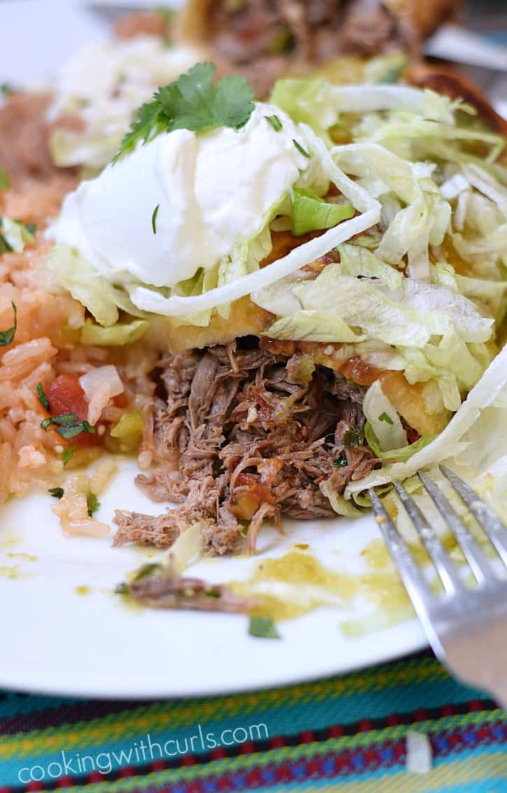 These Shredded Beef Chimichangas are stuffed full of flavor and easier ...