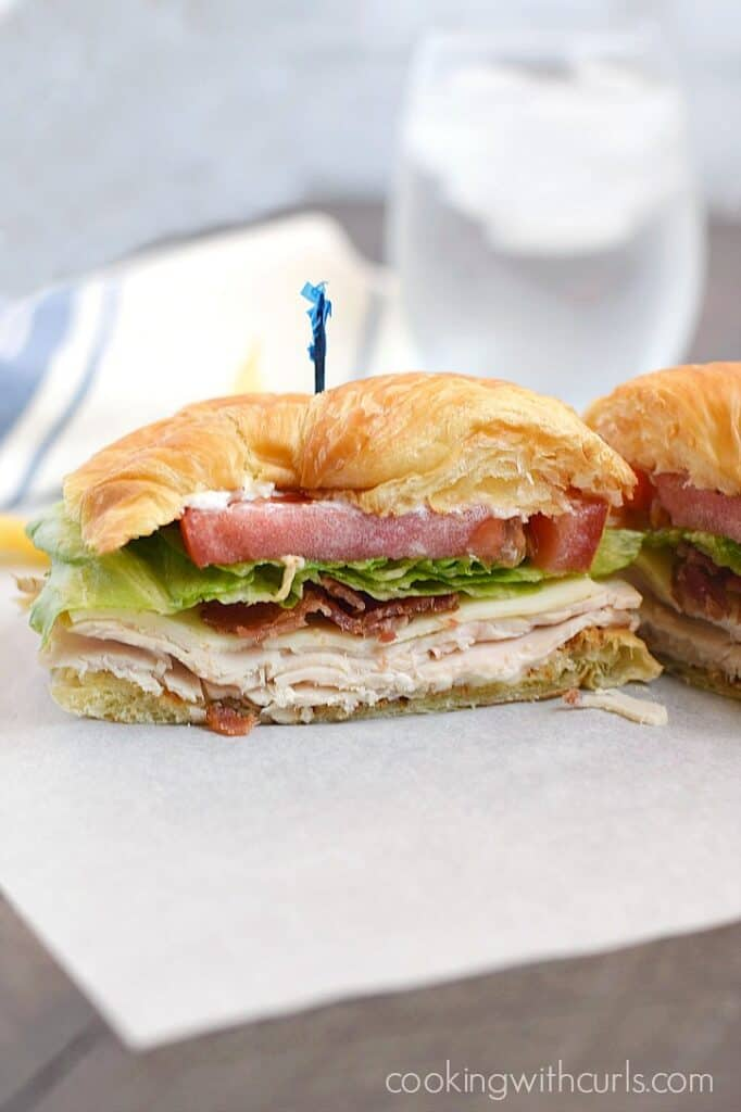 A Turkey Croissant Sandwich is the perfect light summer meal, and and even better way to use up leftover turkey!! cookingwithcurls.com