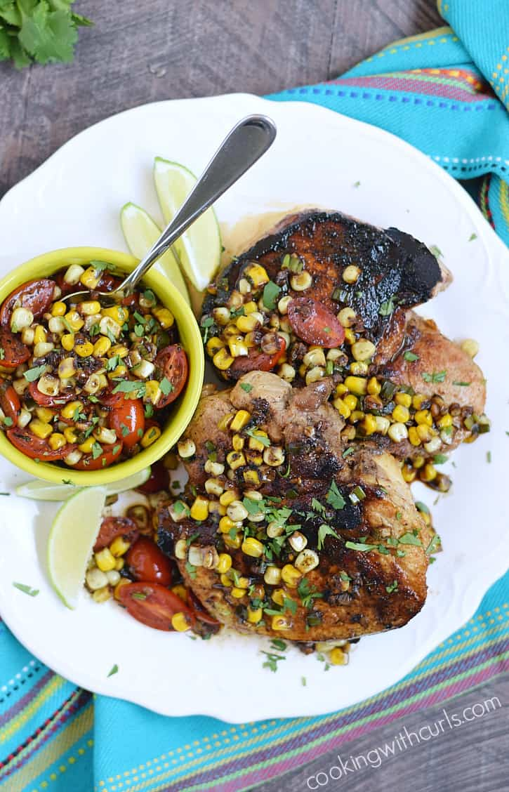 Make date night special with these juicy Southwest Pork Chops topped with sweet corn pan sauce   cookingwithcurls.com