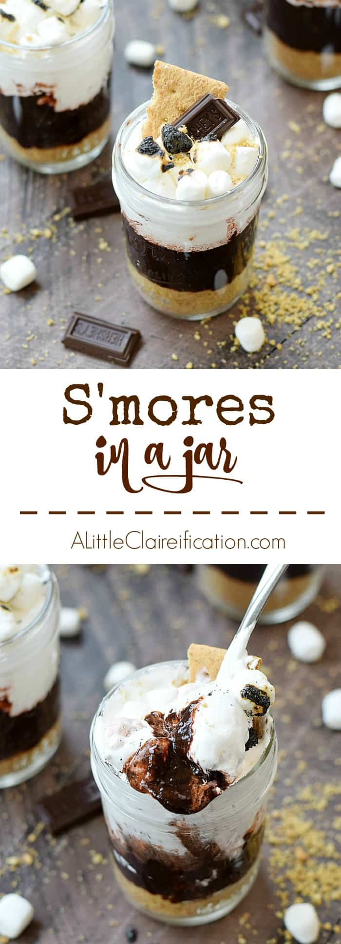 No campfire is required to make these cool and creamy S'mores in a Jar, and they are perfect anytime of the year | www.aclaireification.com