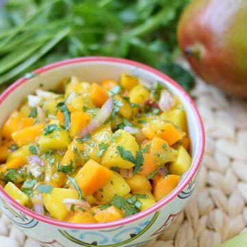 papaya mango salsa in a small bowl