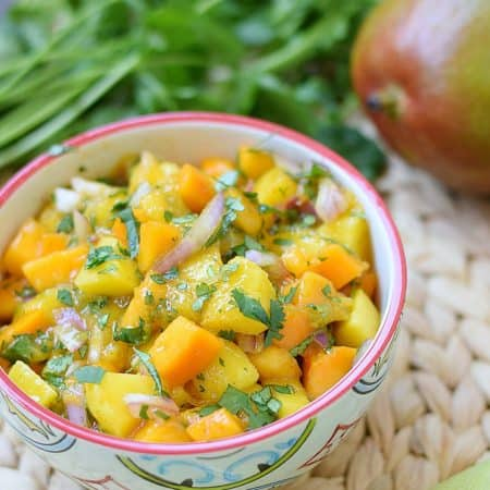 papaya mango salsa in a small bowl