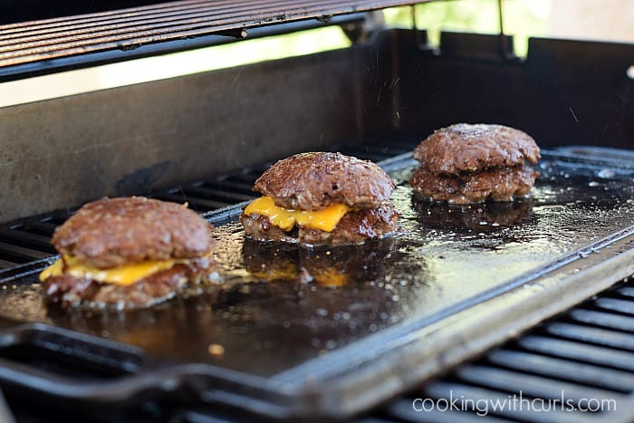 Smashed Burgers stacked cookingwithcurls.com