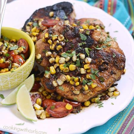 Southwest Pork Chops with sweet corn pan sauce is the perfect dinner for two | cookingwithcurls.com