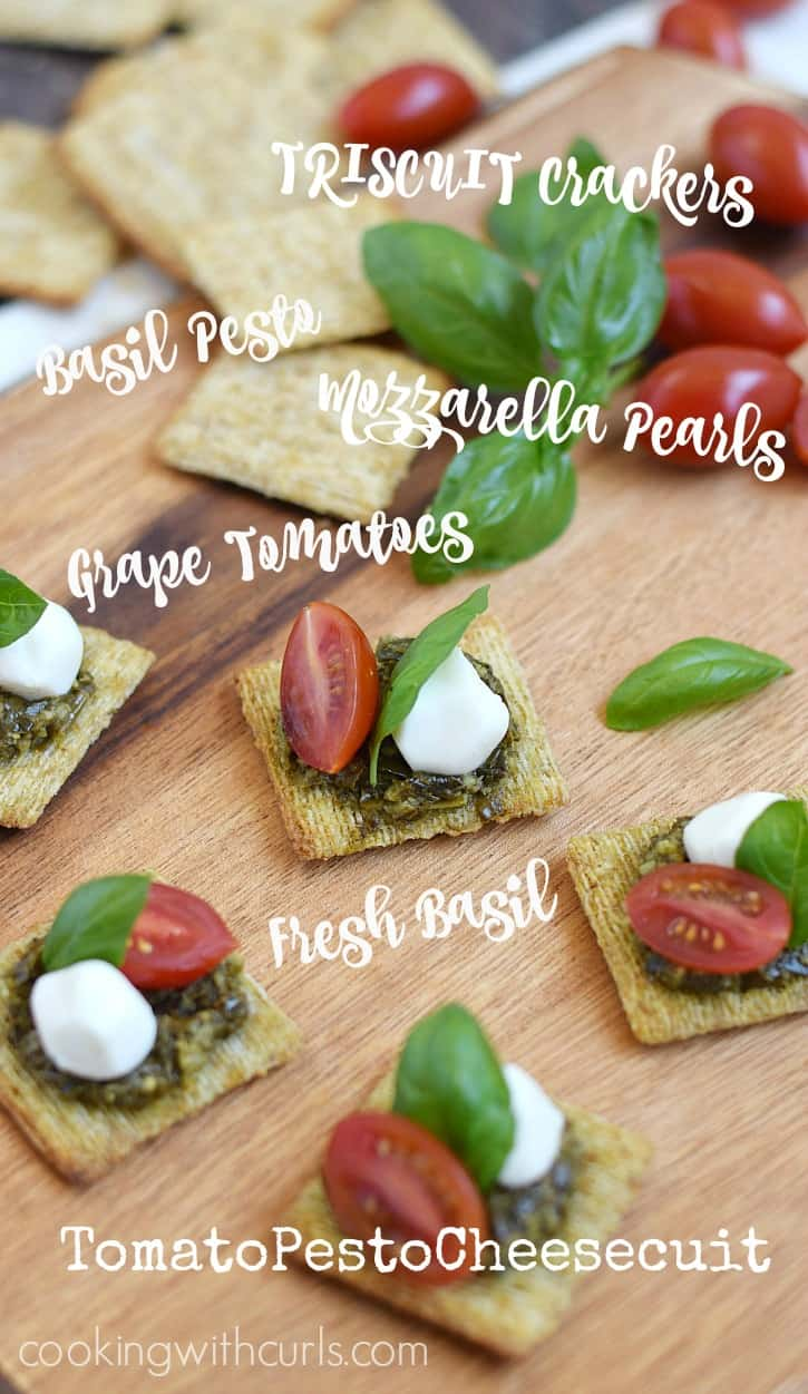 TomatoPestoCheesecuit {aka Caprese Bites} are the perfect appetizer for an impromptu summer gathering | cookingwithcurls.com #MadeForMore #Walmart #ad