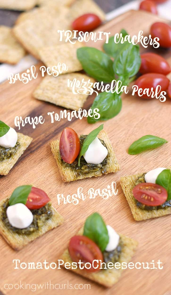 TomatoPestoCheesecuit {aka Caprese Bites} are the perfect appetizer for an impromptu summer gathering!! cookingwithcurls.com