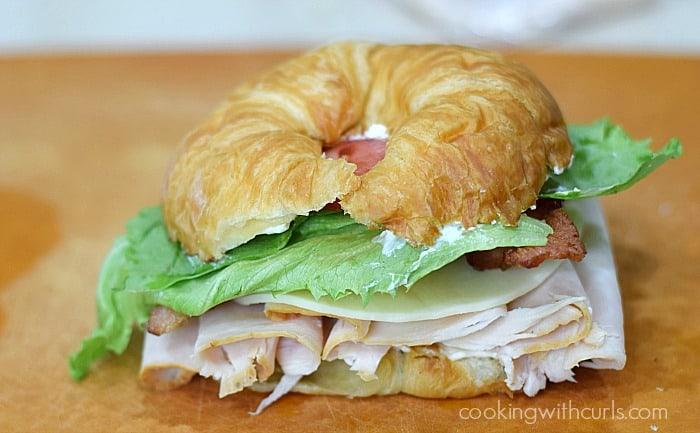 Turkey Croissant Sandwich lettuce cookingwithcurls.com