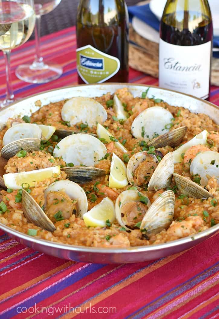 Msg 4 21+ Invite your friends over for a trip to Spain and surprise them with a delicious Seafood Paella loaded with seafood and mixed with savory rice | cookingwithcurls.com #ArtofEntertaining #ad