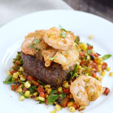 Beef Tenderloin with Tomato Butter Shrimp and Grilled Corn Relish