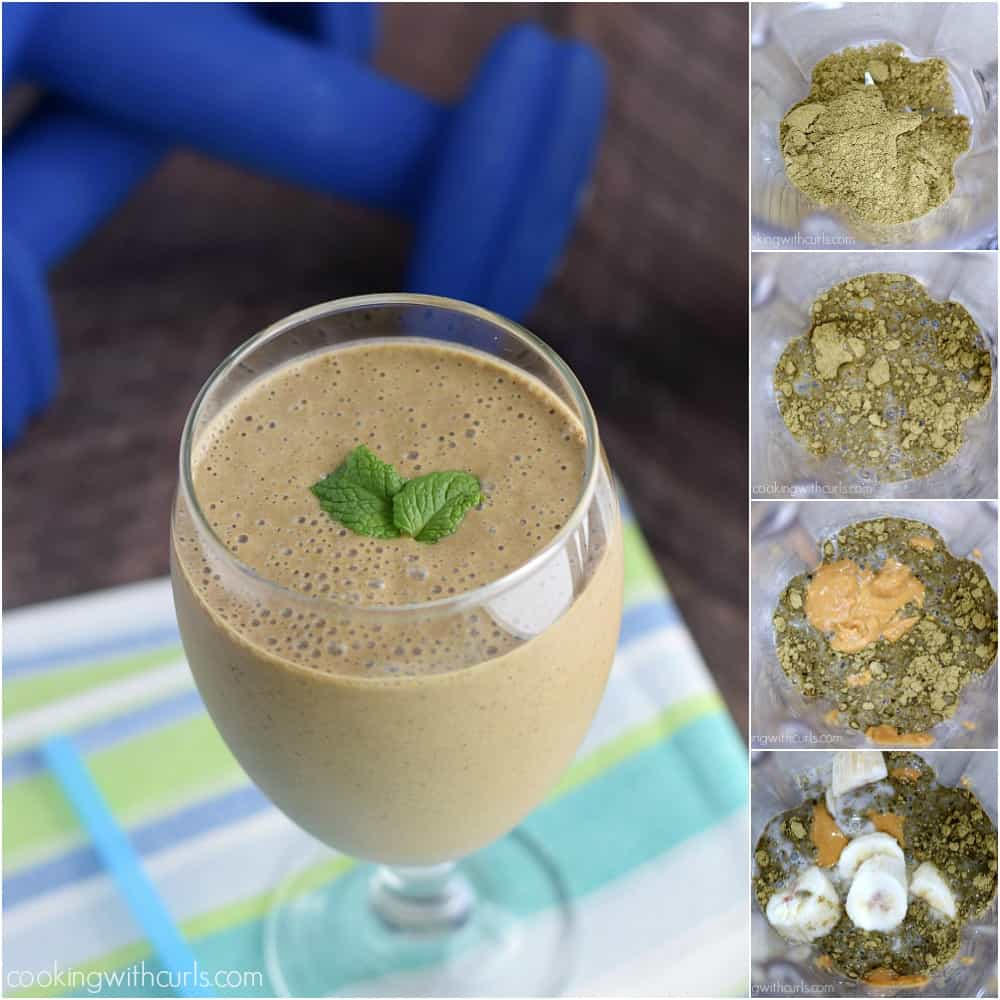 Chocolate Peanut Butter Protein Smoothie   cookingwithcurls.com #ad #KahsiPlantPower #GOTOGETHER