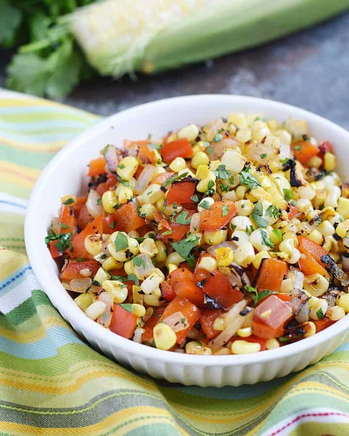 Grilled Corn Relish gets it's charred flavor from the grill, but it's easy to make in a cast iron skillet | cookingwithcurls.com