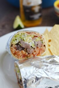 Grilled Steak Burritos with Salsa Spanish Rice