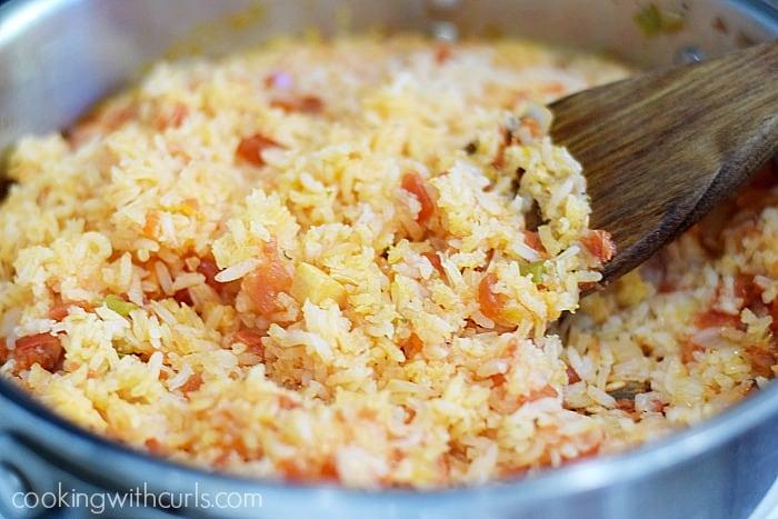 Salsa Spanish Rice fluff cookingwithcurls.com