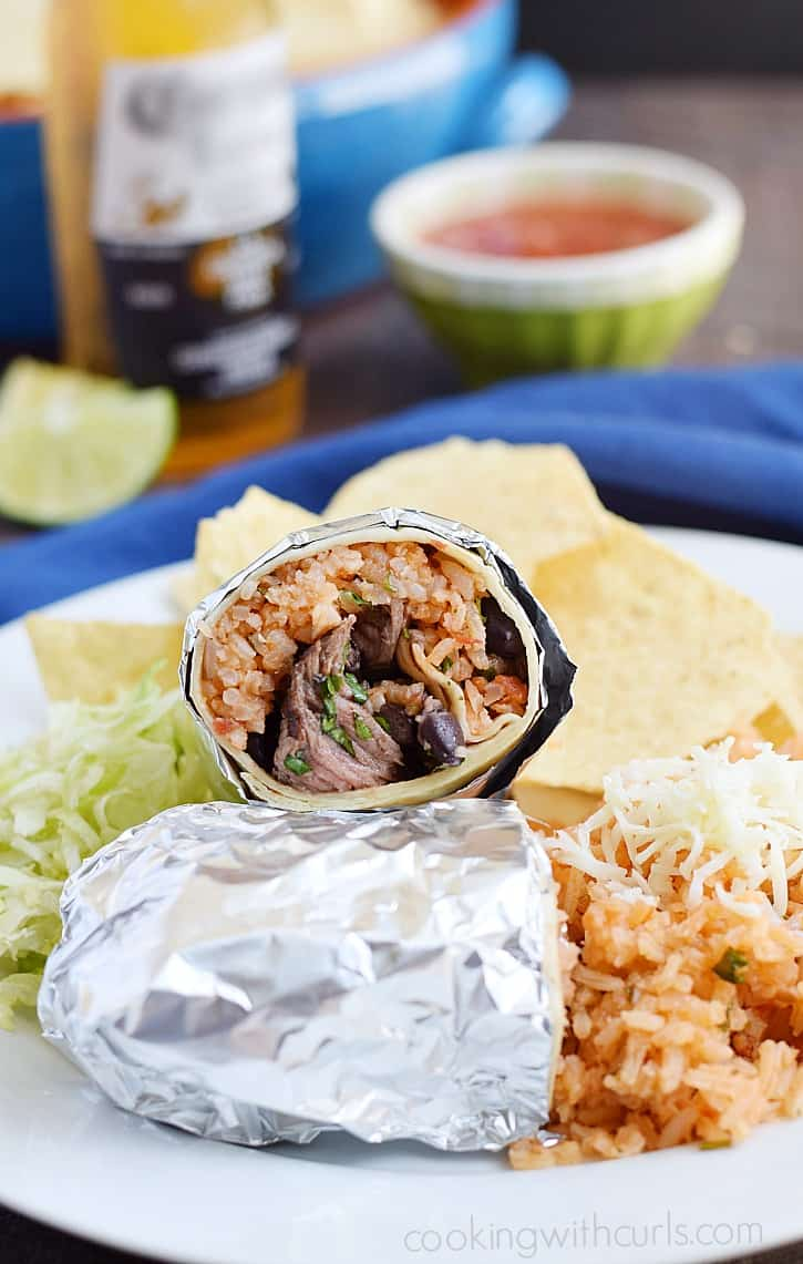Your family will love these Grilled Steak Burritos with Salsa Spanish Rice, black beans, and cheese | cookingwithcurls.com #AuthenticSalsaStyle #ad @HerdezBrand @Walmart