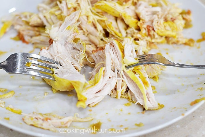 Adobo Slow Cooker Chicken shredded cookingwithcurls.com