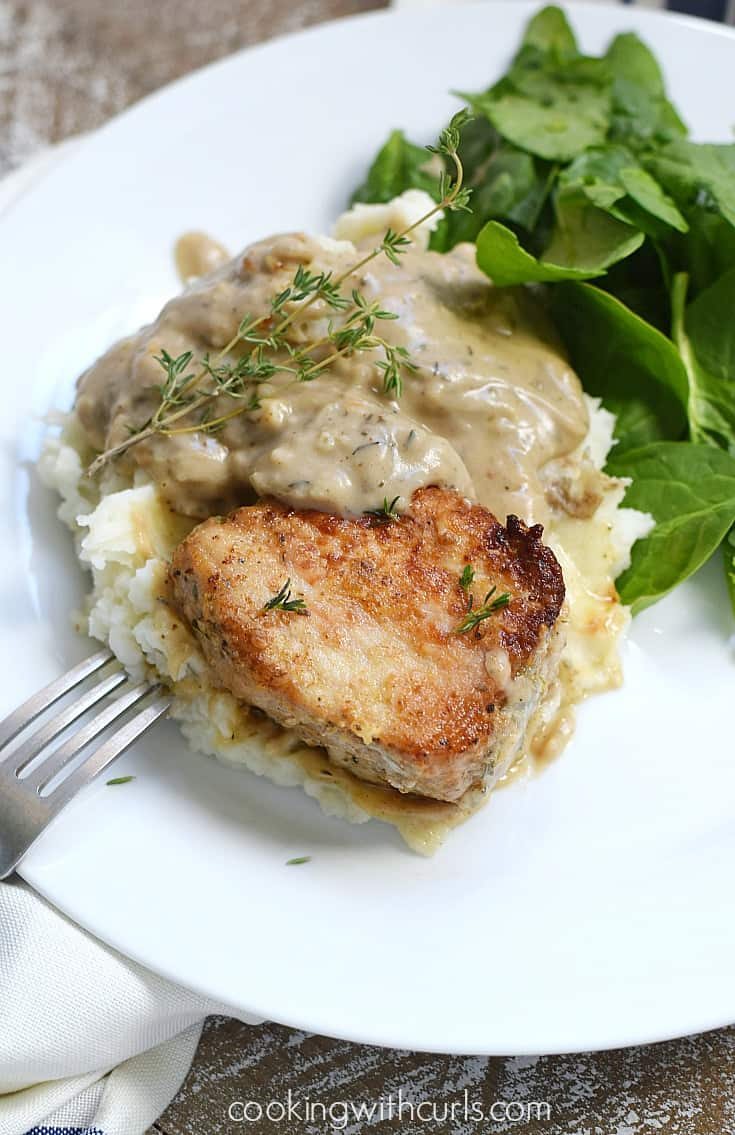Bring the family back to the table with these delicious Skillet Pork Chops with Herb Gravy | cookingwithcurls.com #sponsored #ad